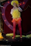 a burlesque dancer as brightly dressed chick: with feathers.