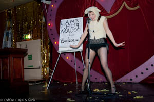 burlesque artiste Lambchop Magoo presents herself in a suitable attire